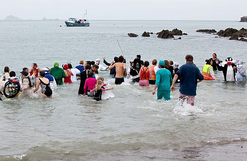 January 1st 2012 - Pretty cold day for the annual charity swim in Cornwall