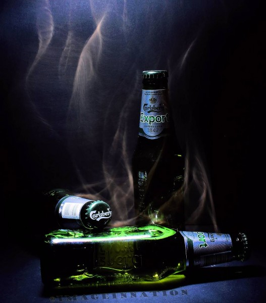 Bottles behavin' badly... a smoky atmospheric shot.