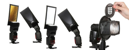 Various gobos are available to fit on off-camera flash units