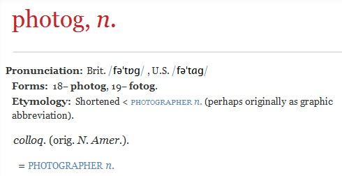 Definition: Photog - Oxford English Dictionary (OED)