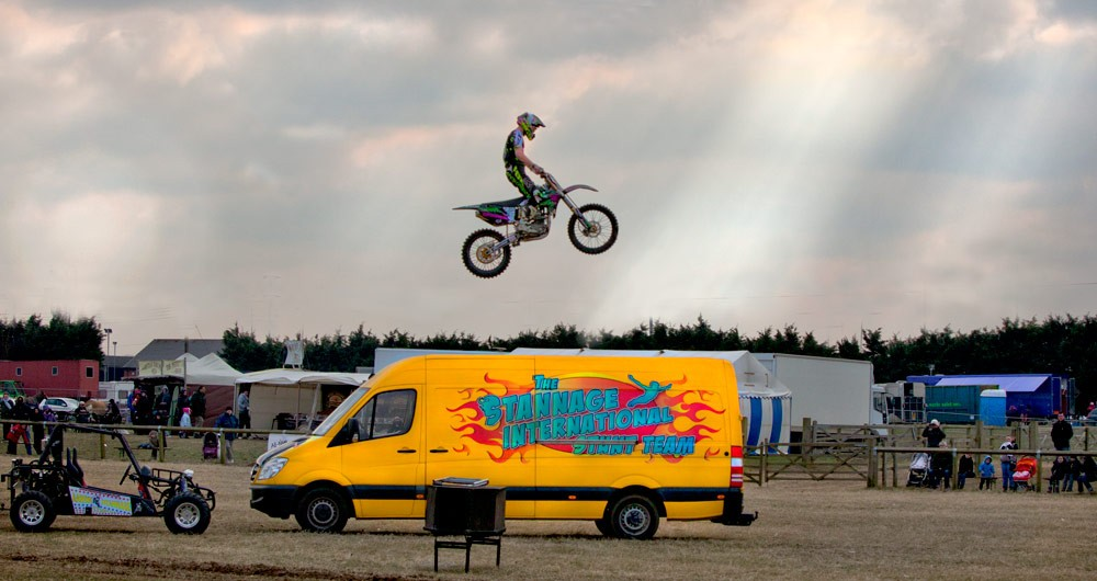 Motor bike jumping van