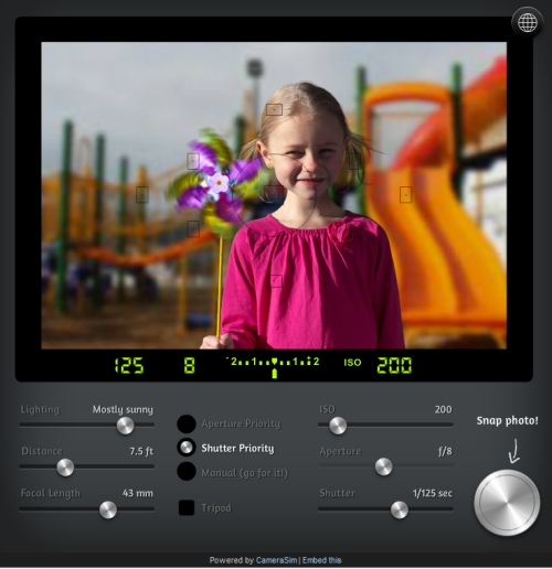 CameraSim - a comprehensive camera simulator for learning how to use camera settings.